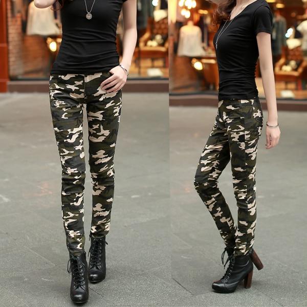 2016 Hochwertige Mode Frauen Camouflage Hose Frauen Armee Fracht Bleistift Hose Baumwolle Taille Dünne Hosen Für Frauen Buy One Give One