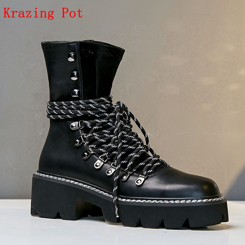 Krazing Pot cow suede round toe high heels platform Western boots party career black brown color lace up Winter ankle boots L17 krazing pot winter kid suede cow leather patch work high heel basic boots winter zipper round toe office lady ankle boots l12