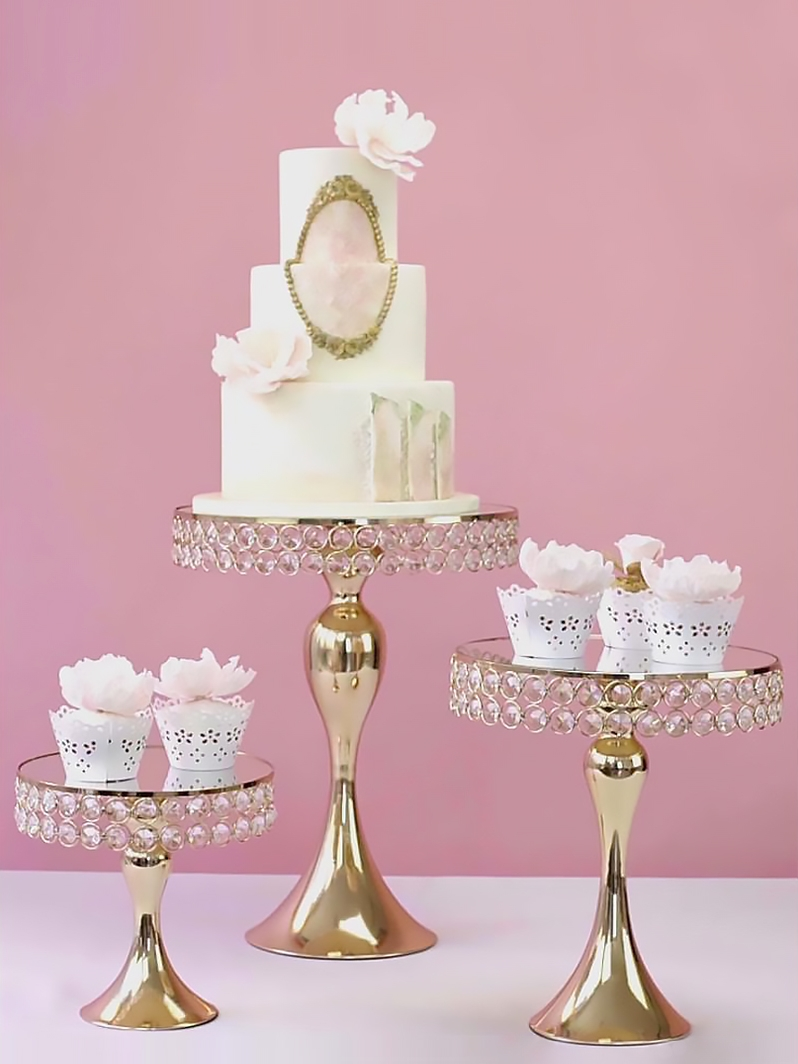 5pcs wedding metal crystal gold cake stand table centerpiece cupcake tray display mermaid style crystal wedding cake table stand table