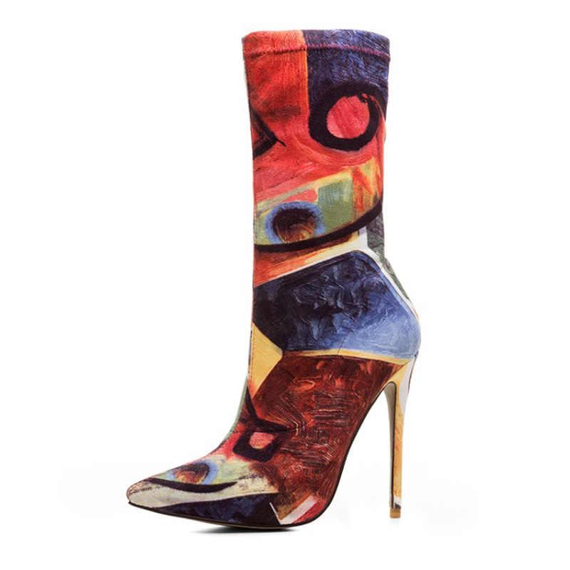 2019 Avrupa ve Amerika Birleşik devletleri moda sivri topuk elastik çizmeler büyük boy baskı kadın çiçek botları