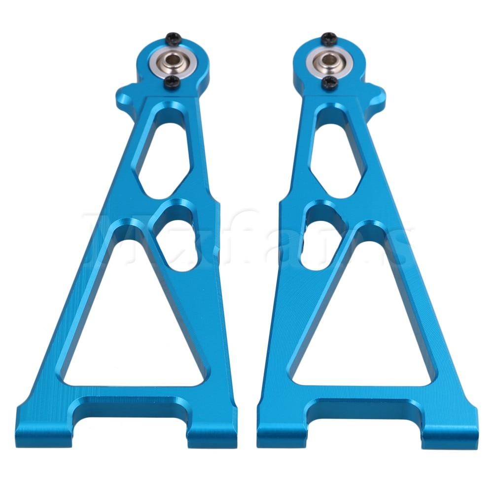 Mxfans Blue 33602 Aluminum Alloy Front Lower Suspension Arm for HIMOTO E10MTL E10MT E10BP RC1:10 Largefoot Car Pack of 2 hsp 122021 replacement aluminum alloy rear lower suspension arm for 1 10 rc cars blue 2 pcs