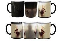 the walking dead mugs heat changing color  tea mugen heat reveal zombie mugs Daryl Dixon ceramic coffee mug magical magic mug