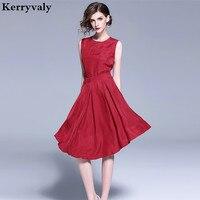 OL Irregular Dovetail Copper Silk Summer Dress Vestidos Verano 2019 Sleeveless Red Midi Women Dresses Dames Kleding K199