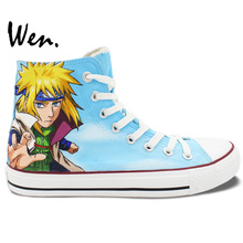Wen Hand Painted Anime Shoes Design Custom Naruto Minato Itachi High Top Men Women's Canvas Sneakers