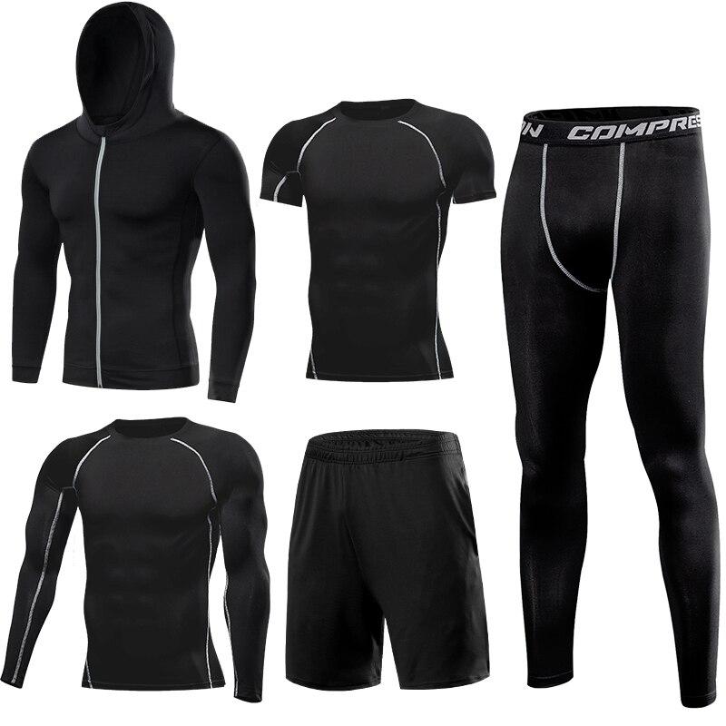 Kuangmi Männer Gym Kleidung Fitness Sportswear Kompression Strumpfhosen Anzüge Laufende Sport Engen Jogging T shirt und Hosen Set Kleidung - 3