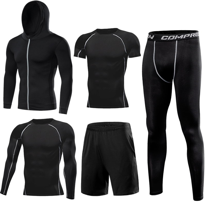 Quick Dry Running Set Men's Compression Basketball Tights Sports Running Sets Gym Fitness Sportswear Running Jogging Set Clothes - 3