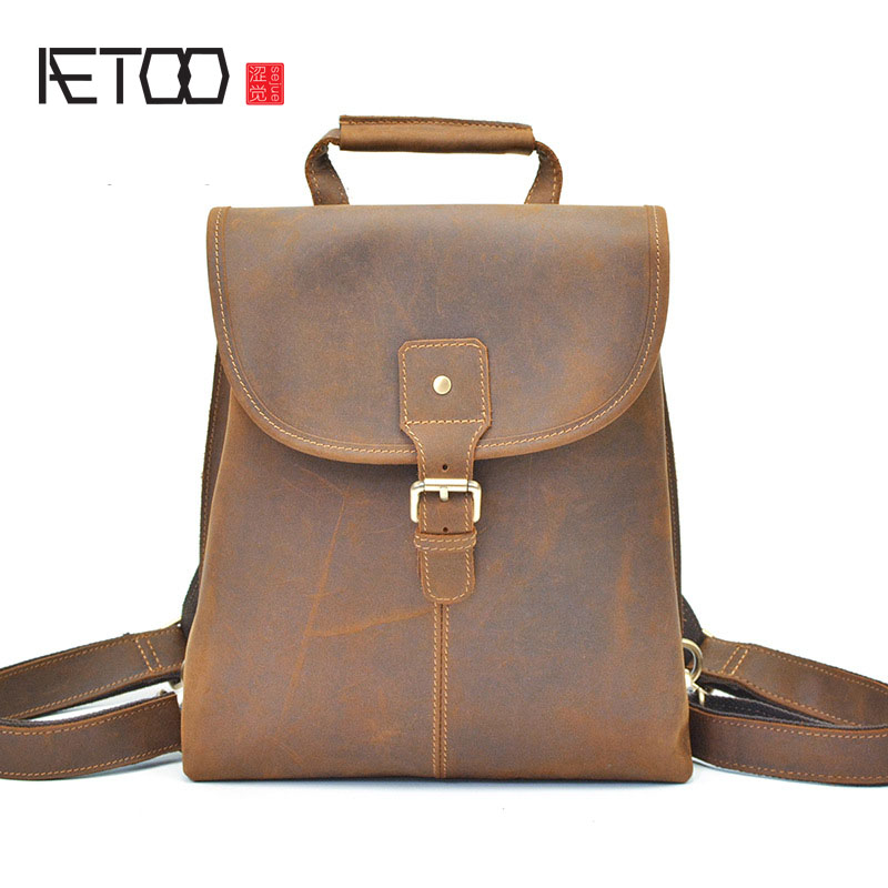 AETOO LeJapan and South Korea wind men's backpack crazy horse skin backpack head layer leather leisure travel leather flip backp
