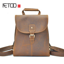 AETOO LeJapan and South Korea wind males's backpack loopy horse pores and skin backpack head layer leather-based leisure journey leather-based flip backp