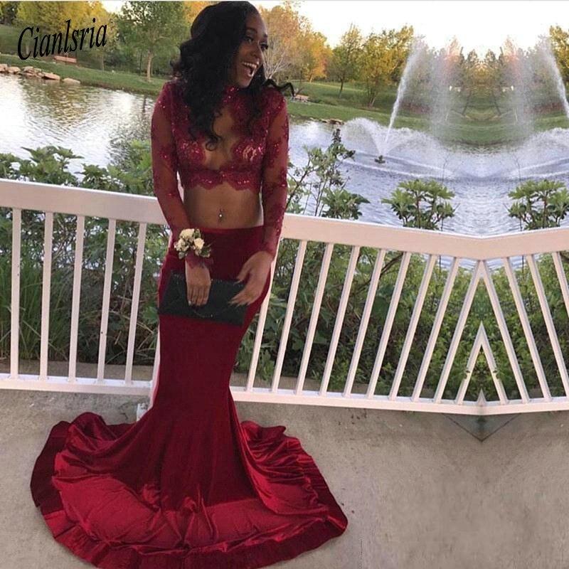 Sexy bourgogne sirène robe de soirée de bal manches longues Illusion col haut paillettes dentelle pour les filles noires avec Train robe formelle
