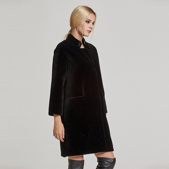 Women Shorn Sheepskin Coat Sheep Shearing Fur Coat Lamb Fur Jacket Stand-up Collar Fur Story 17142N