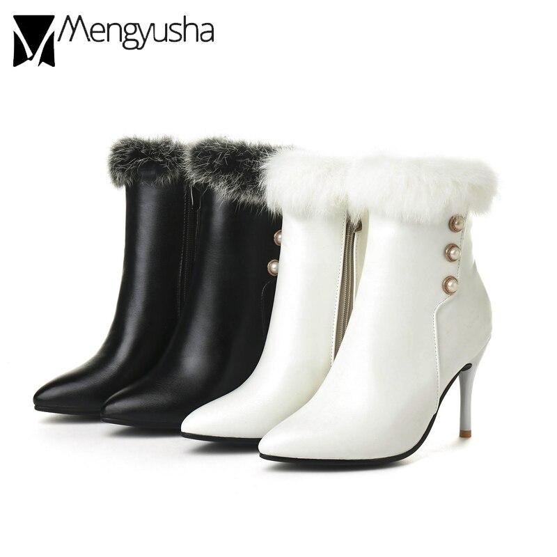 Piel Zapatos Perla Mujer Caliente Tacones Conejo Remaches Sexy De Mujeres Tamaño Grande Fino Botines Negro Talón blanco Invierno Cuero Botas Altos BTTO1Ya