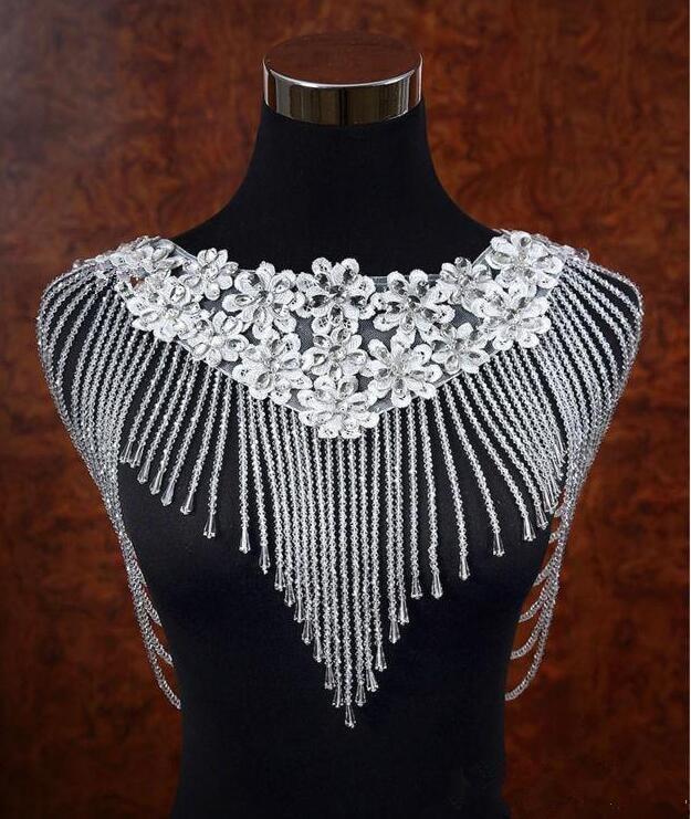Amazing Lace Appliques Bling Bling Crystal Beaded Bridal Wraps 2019 Beaded Wedding Shawl Jacket Bolero Jacket For Wedding White