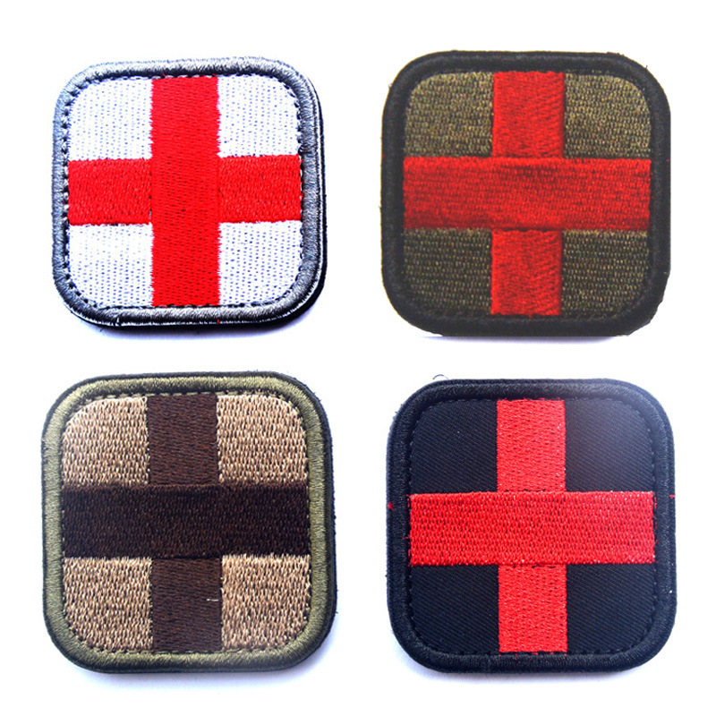 Painstaking Cross Micro Medical Treatment Rescue Backpack Embroidery Tactical Military Patches Badges Stickers Hook/loop 5*5cm Rock & Pop