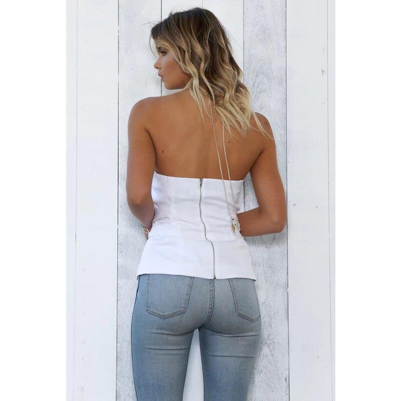 2018 Hombro Cinturón Blanco Sexy Superior Negro Otoño blanco De Verano Y Negro Blusa Mujer Sin Tirantes Camisa Forefair v74n6wq7