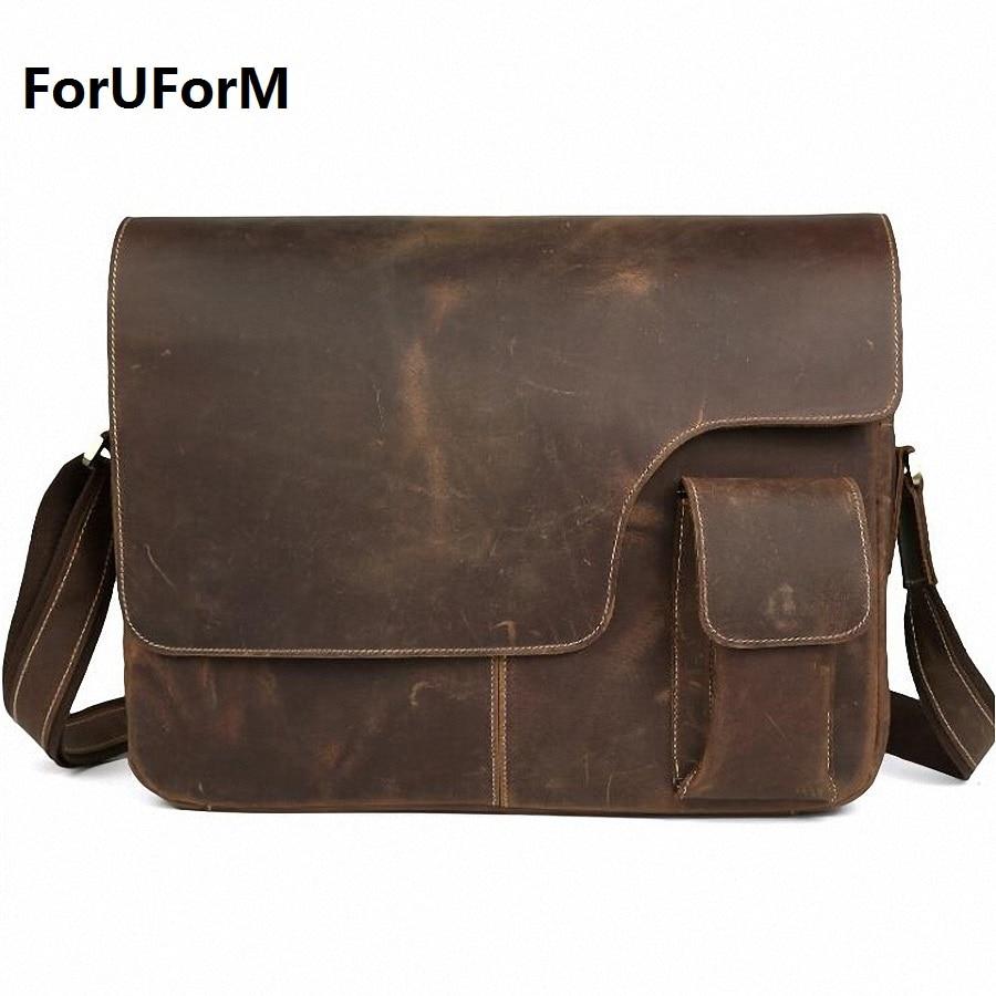 Crazy horse leather Vintage Men's Messenger Bag 100% Genuine leather Cross Body 14 inches Laptop Shoulder Bags Briefcase LI-650