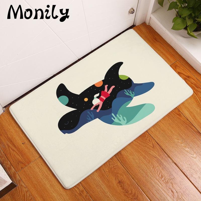Monily Flannel Waterproof Anti Slip Door Mat Cartoon