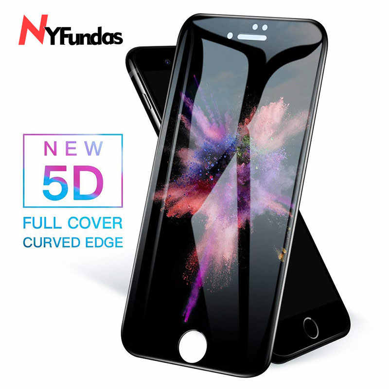 NYFundas para iPhone 7 vidrio templado 5D cubierta completa película protectora de pantalla para iPhone XS Max X 8 Plus 6 6 6 S verre tremp protección