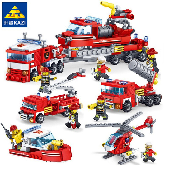348 Pcs Pemadam Kebakaran 4IN1 Truk Helikopter Mobil Perahu Blok Bangunan Kompatibel Legoingsl Pemadam Kebakaran Kota Angka Mainan Anak