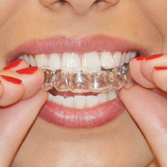 Genkent 2 pares de termoformado Dental protector bucal dientes blanqueamiento bandejas blanqueo blanqueador de dientes boca cuidado higiene Oral