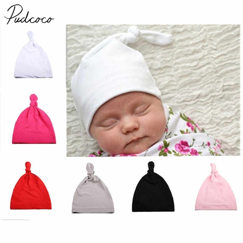 2019 Baby Accessories Hot Knotted Hat Children Fashion With Acute Angle Cap Solid Baby Hats Hospital Soft Caps