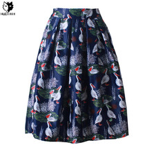 HUOX Red-crowned Cranes Women's Bubble Skirt 2016 Vintage Audrey Hepburn Ball Gown Skirt Midi High Waist Pleated Skirt