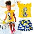 Meninas Novas Roupas Casuais Define Crianças Manga Curta Bonito Dos Desenhos Animados T-shirt + Calças dos Ternos Do Esporte Conjuntos de Roupas Menina 2016 para crianças