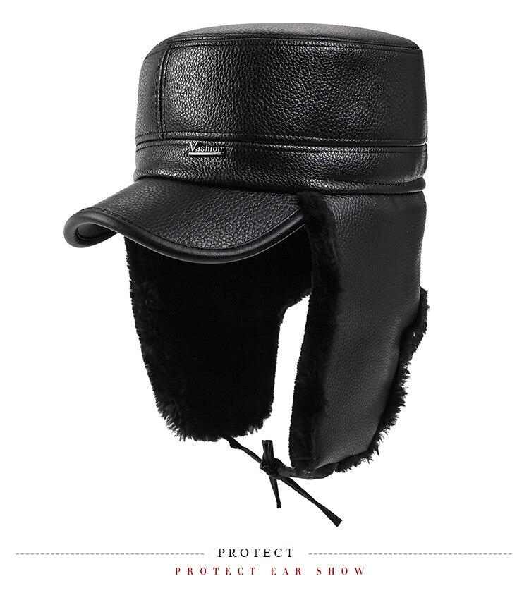 681a5bbfa5a LongKeeper 2017 Men Baseball Caps Winter Warm Leather Hats Man ...