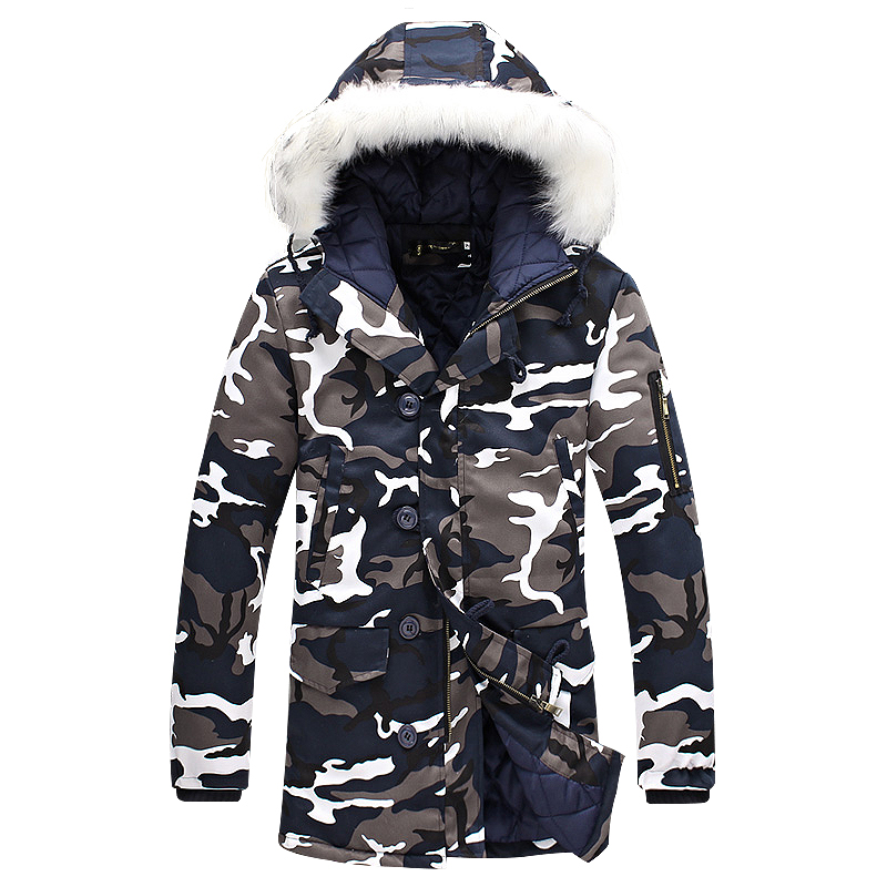 2016 winter Fashion camouflage parkas men military Men's Clothing winter jacket men with fur a hood free shipping size M-5XL