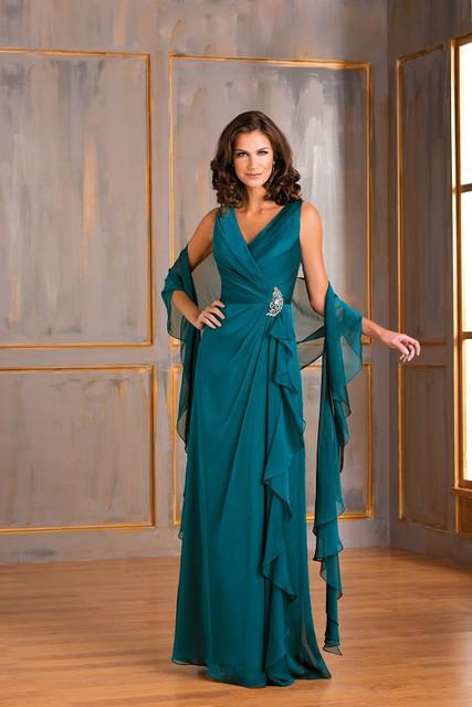 Plus Size V Neck Mãe Dos Vestidos de Noiva Com Wraps Partido Formal de Uma Linha de Chiffon Longo Vestidos de Noite