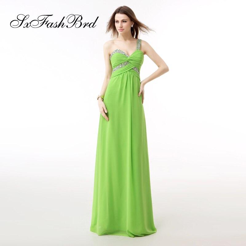 Vestidos Largos One Shoulder With Beading A Line Chiffon Long Formal Elegant   Dresses   Women Evening Party   Prom     Dress