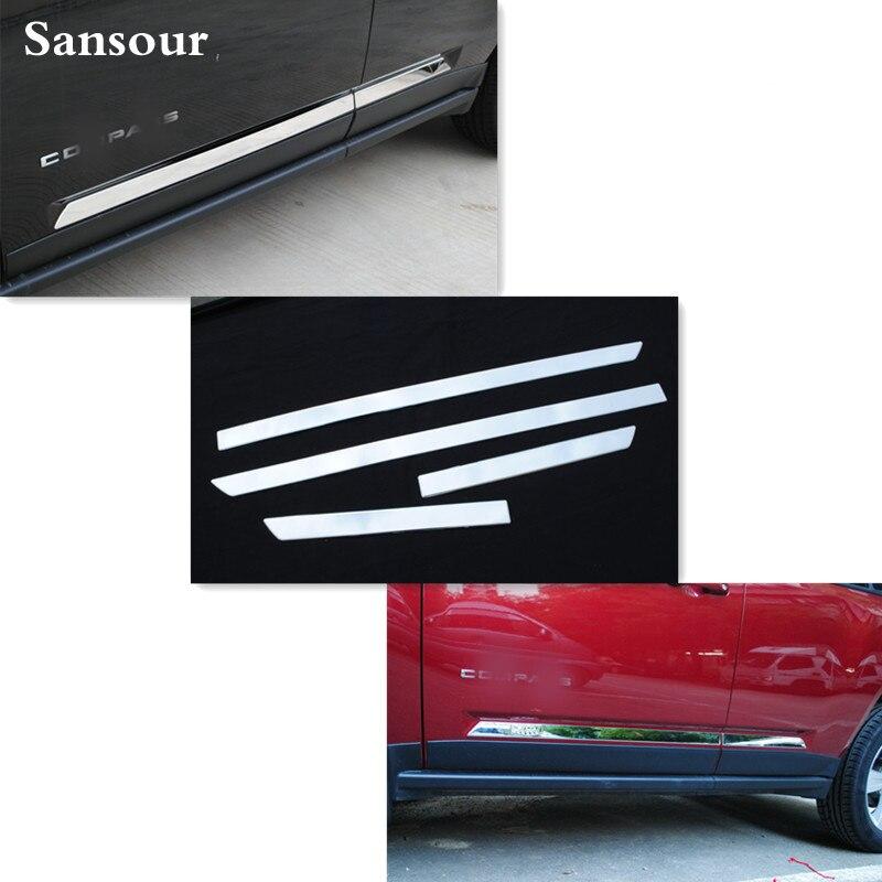 Garnitures de moulage latérales de corps de porte d'acier inoxydable de Sansour pour la boussole de Jeep 2011 2012 2013 2014 2015 style de couverture de Chrome d'abs