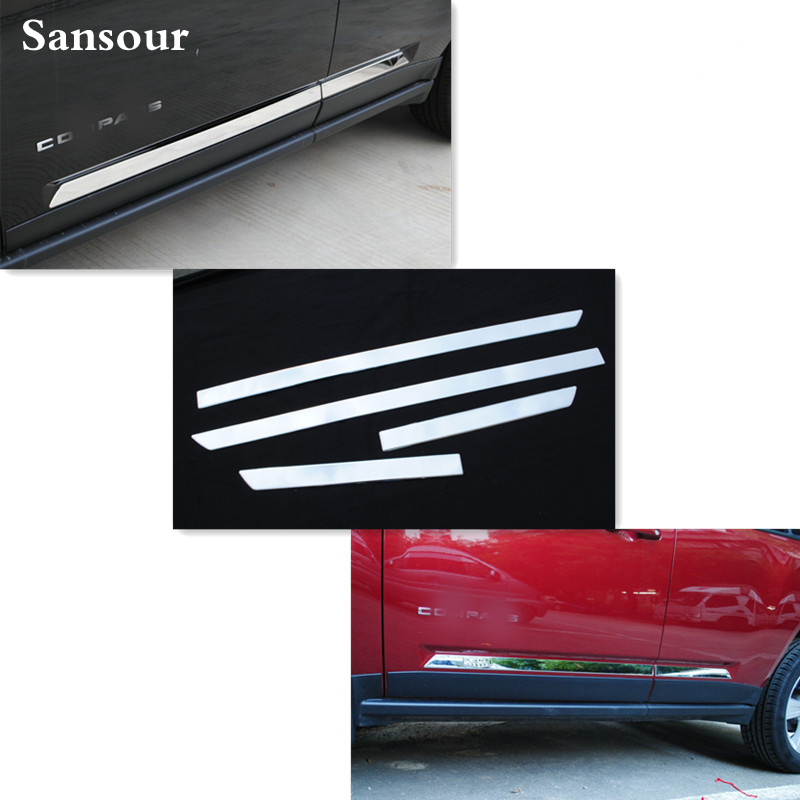 Sansour Stainless Steel Door Body Side Molding Trims For <font><b>Jeep</b></font> <font><b>Compass</b></font> 2011 <font><b>2012</b></font> 2013 2014 2015 ABS <font><b>Chrome</b></font> Cover Styling image