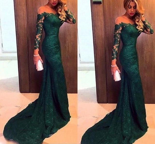 Hunter Green Evening Dresses Mermaid Lace Long Sleeve Elegant Latest