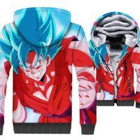 Dragon Ball Z Super Saiyan Printed 3D Jackets Men 2019 Winter Thick Warm 3D Hoodies Sweatshirts Harajuku Brand Male Zip Up Coat