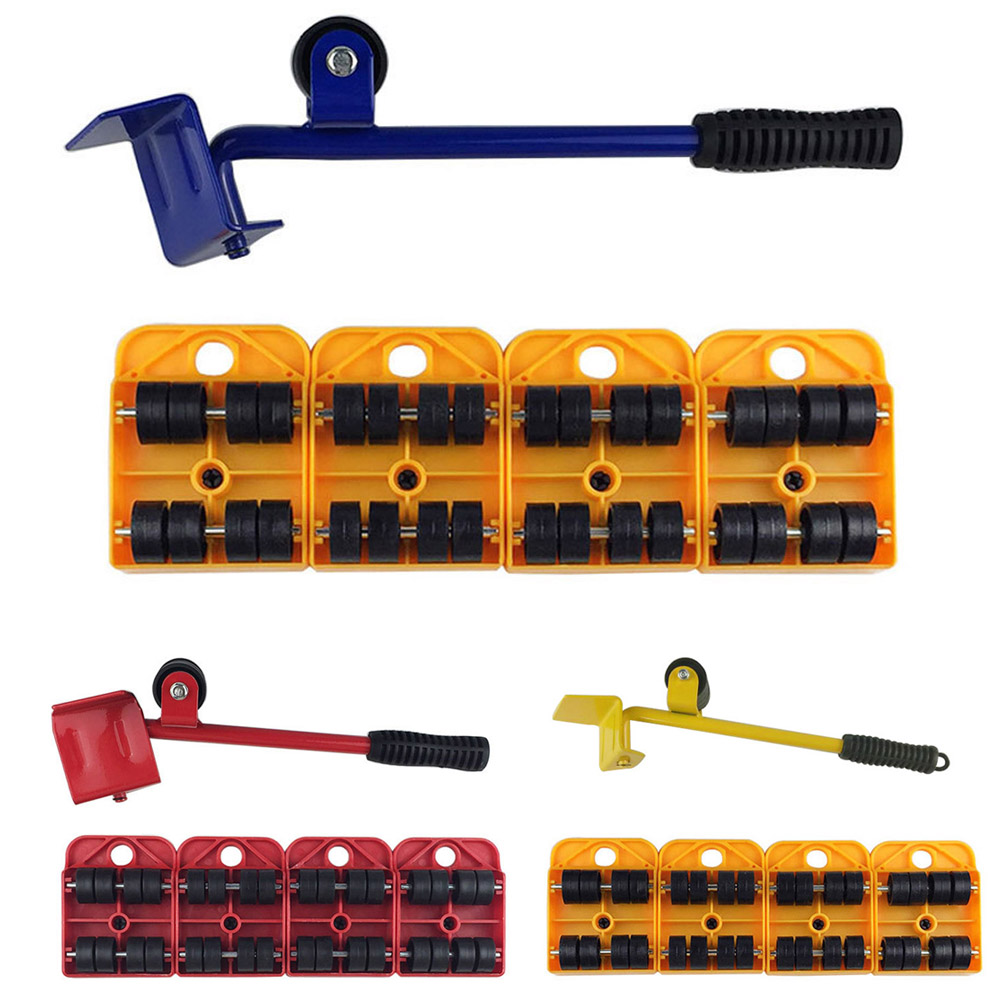 5pcs Hand Tool Set Furniture Transport Furniture Lifter Slides 4 Wheeled Corner Movers + 1 Wheel CLH@8