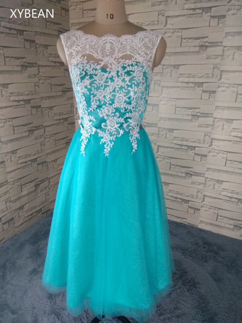 Free Shipping ! 2018 New Arrival Appliques Lace Tea Length Prom ...
