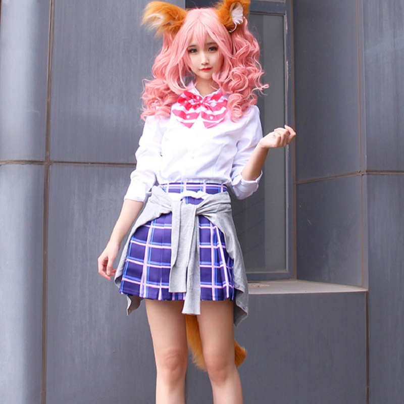 Game Fate Grand Order EXTRA Extella Anime Cosplay FGO Tamamo no Mae Clothing Ears Tail Cosplay Props Accessory Cosplay Costume
