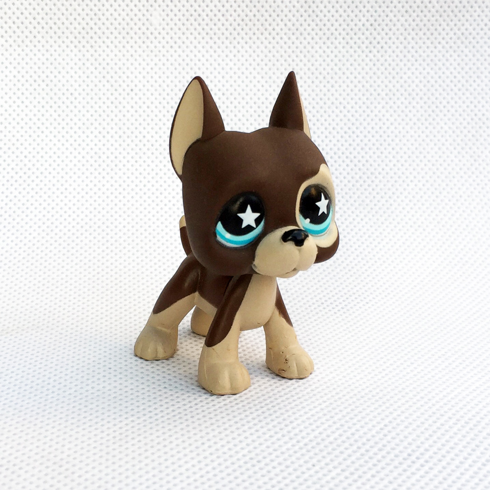Real Dark Brown Great Dane Dog #817 Rare Pet Shop Toys Star Blue Eyes Cute Animal Figure Toys For Kids