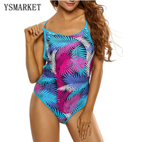 Sexy Female Swimwear Women Blue Pink Palm Leaves Strappy Back One Piece Swimsuit Swimming Suit E410065