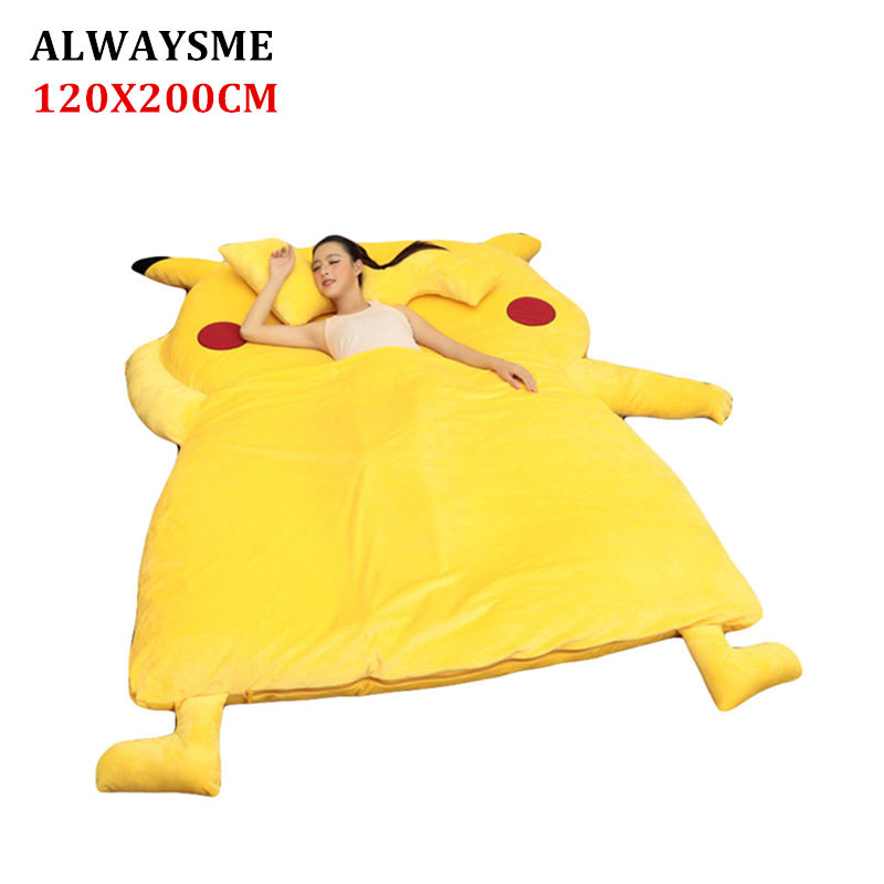 ALWAYSME 120x200CM Pikachu One Piece Design Lazy Sofa Bed Cover Tatami Mats Without Filler Cotton Inside