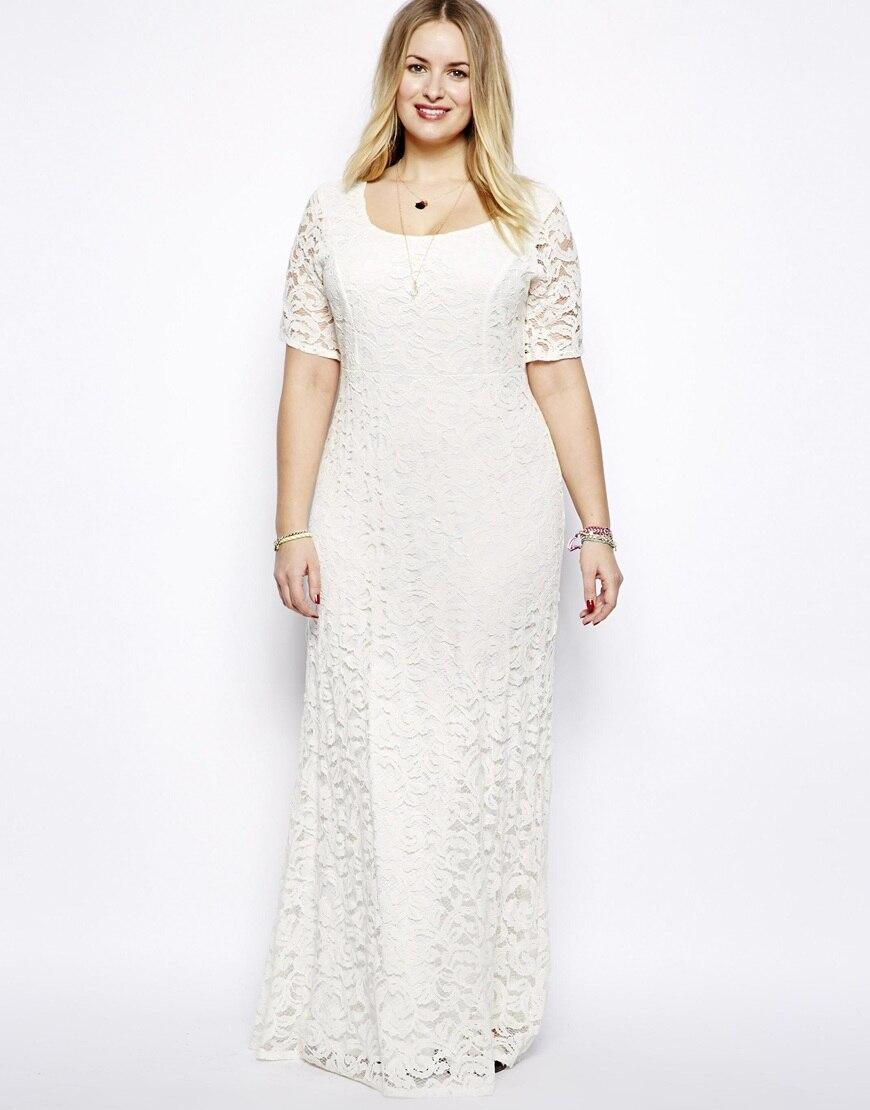 New Fashions White Sexy Long Maxi Lace Dress Plus Size Casual Dress