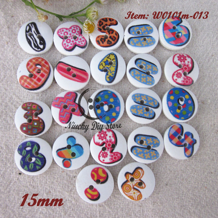 250pcs 15mm Mixed 0-9 digital symbol series wooden buttons for child craft and scrapbooking accessories Number buttons wholesale