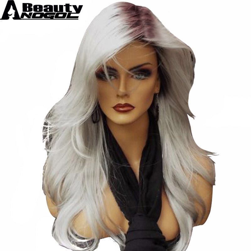 ANOGOL BEAUTY Hair Cap+High Temperature Fiber Natural Wave Silver Grey Ombre Dark roots Synthetic Wig For Ladies Girls Womens