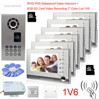 6 Apartments IP65 Waterproof Video Doorphone 8GB SD Card Video Recording 7 Color Monitor Intercom Doorbell