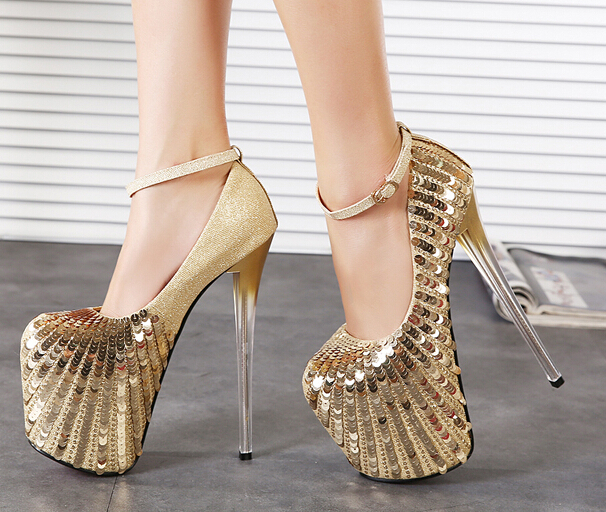 Aliexpress.com : Buy Sparkly Paillette Gold Shoes Sexy 19 CM Ultra