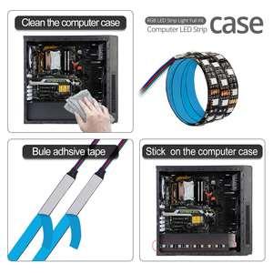 Image 5 - SMD 5050 DC12V RGB Strip LED Strip Flexible Light 60leds/m 2PCS Set for PC Computer Case with SATA Interface+1 to 2 Cable