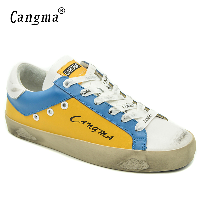CANGMA Casual Shoes Woman Brand Yellow Shoes Genuine Leather Platform Sneakers Breathable Shoes Ladies British Footwear GirlCANGMA Casual Shoes Woman Brand Yellow Shoes Genuine Leather Platform Sneakers Breathable Shoes Ladies British Footwear Girl