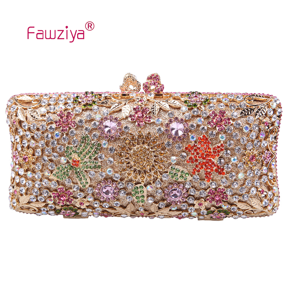 Fawziya Multicoloured Diamond Flower Pattern Gorgeous Ladies Handbag цена