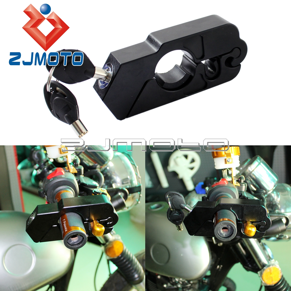 Motorcycle Aluminum Brake Lever Throttle Lock Scooter Handlebar Grips Lock Security Lock Black