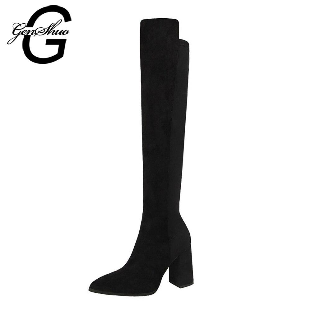 GENSHUO Knee High Boots Women Fashion Winter Boots Woman Shoes Autumn Zip Thick Heel Thigh High Boot Female утюг redmond ri c252 2200вт мятный ri c252 мятный